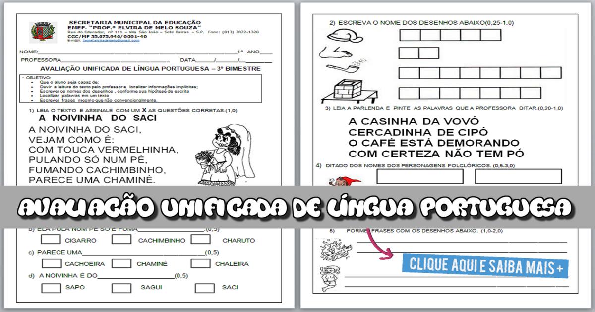 Avaliação unificada de Língua Portuguesa para 3 bimestre - 1º ano