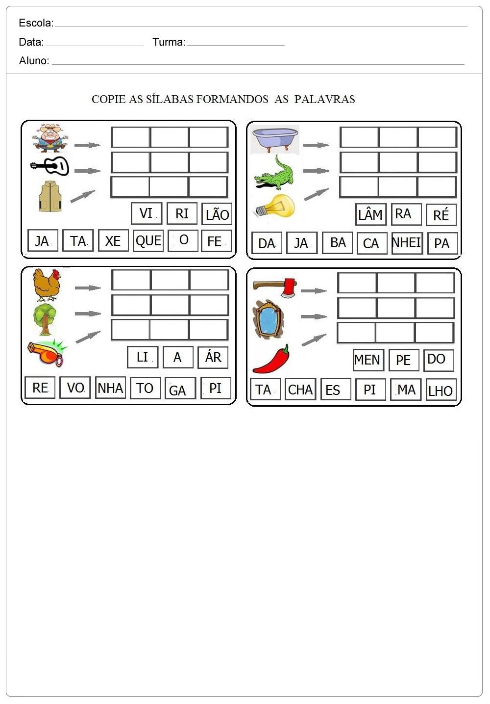 Copie as Sílabas e forme palavras - Atividades de Alfabetização - Imprimir