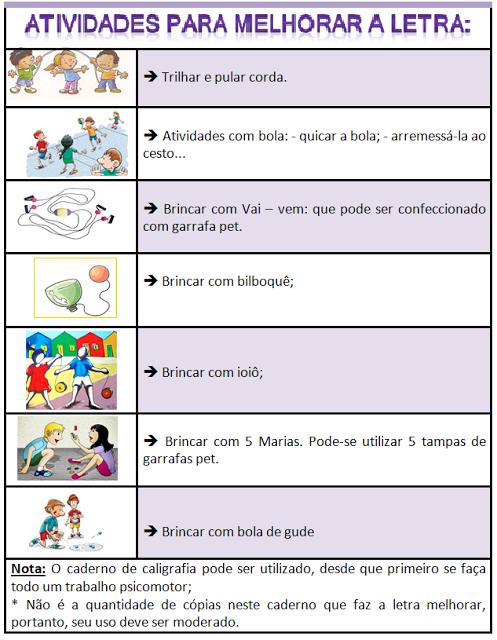 Dicas de atividades para melhorar a letra das crianças.