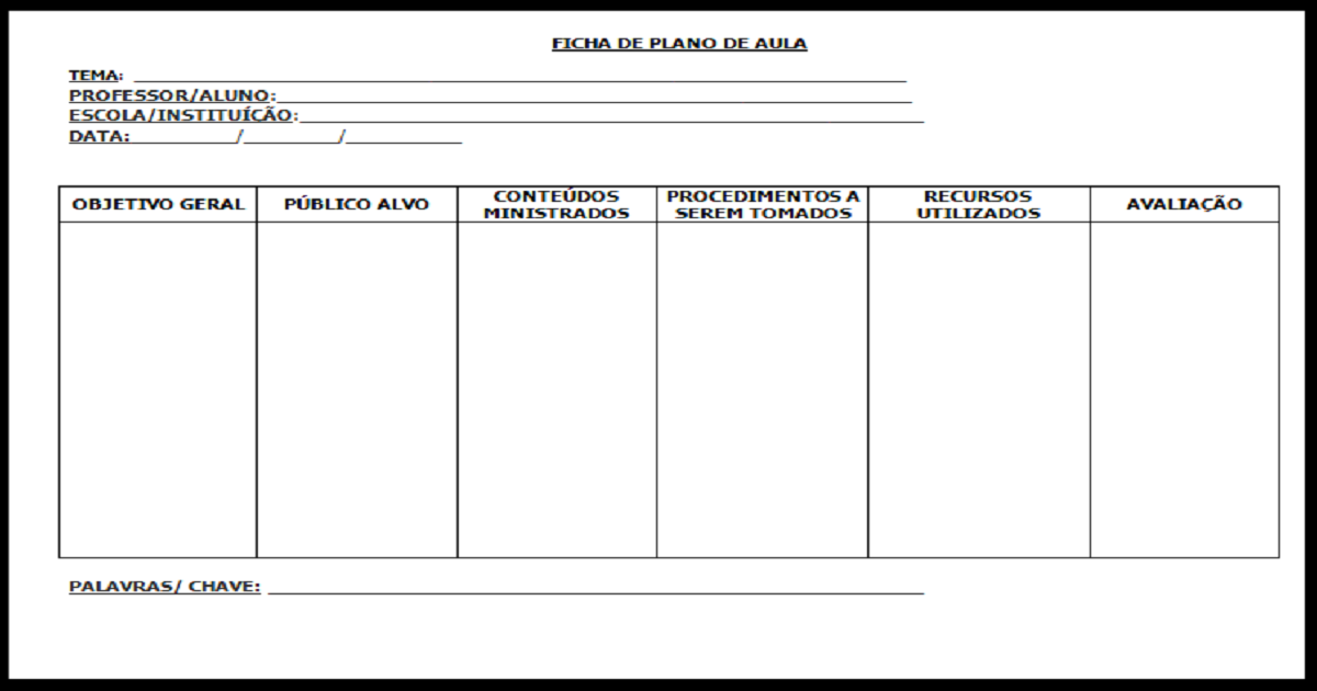 Modelo de ficha para plano de aula para imprimir.