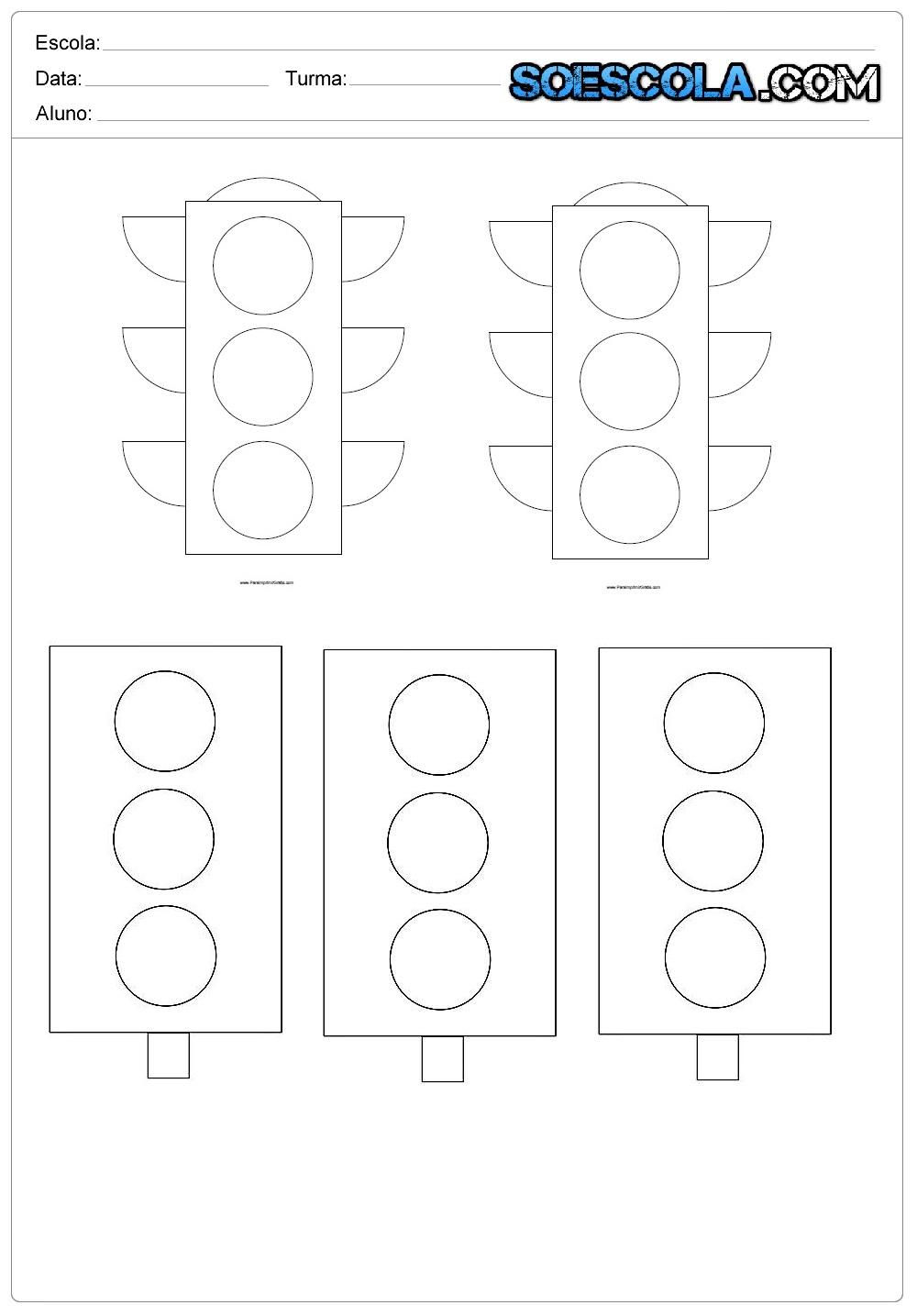 Moldes de Semáforos para imprimir e colorir. — SÓ ESCOLA