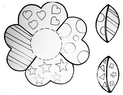 Moldes de flor e folhas: