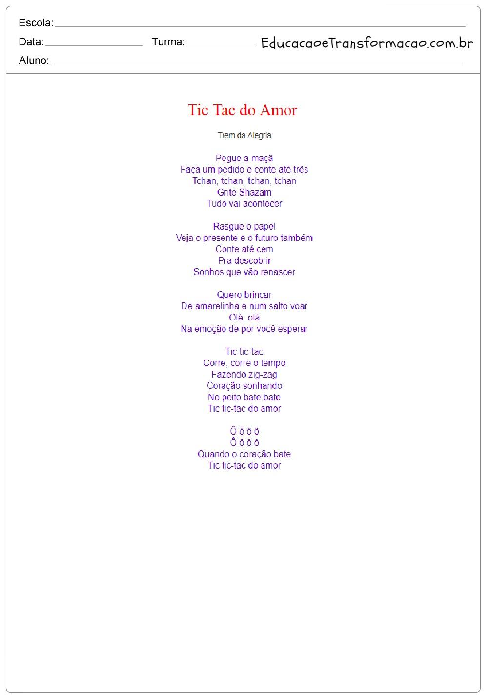 Músicas para o Dia das Crianças: Letras para imprimir.