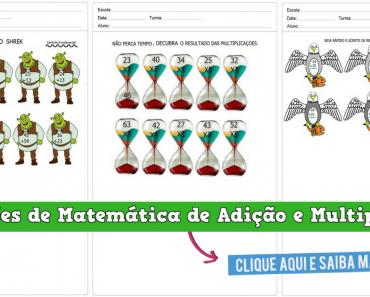 Operações de Matemática de Adição e Multiplicação - Para Imprimir.
