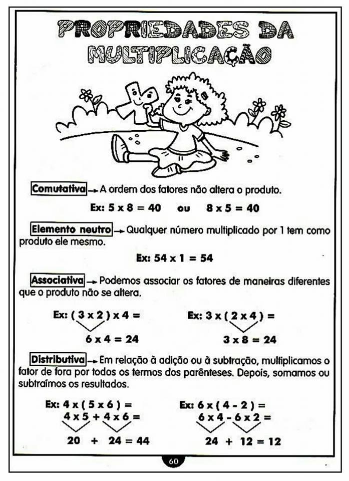Propriedades da Multiplicação - Ficha para imprimir.