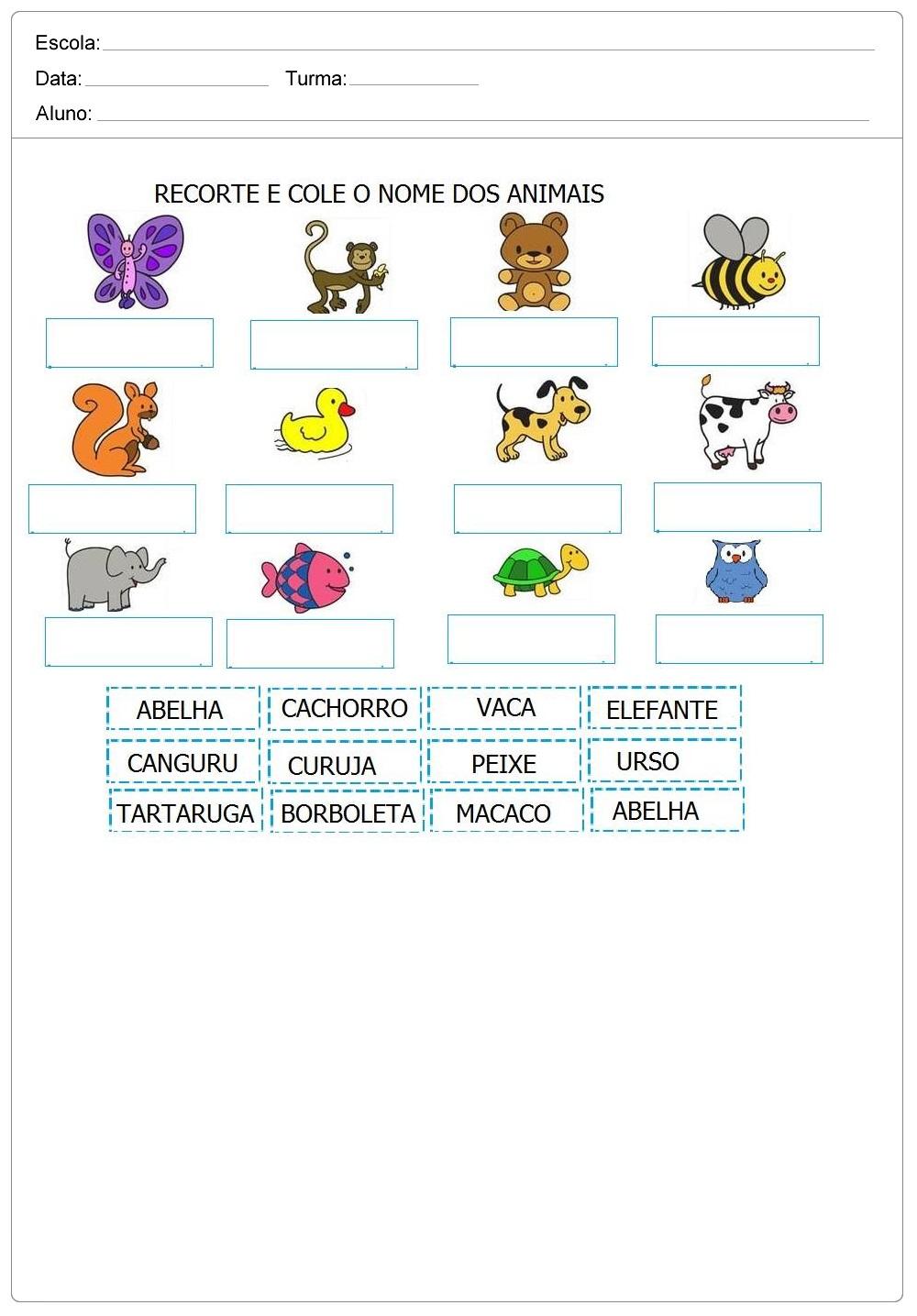Reconhecendo o nome dos animais - Atividades para Educação Infantil.