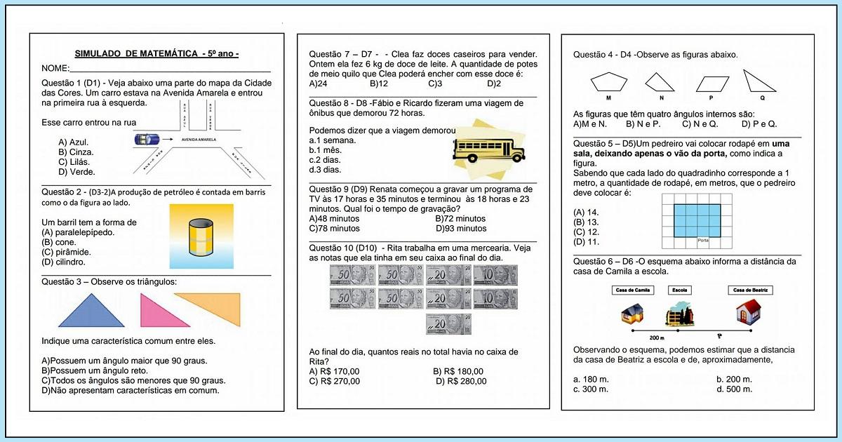 Simulado de matemática para o 5 ano - Para Imprimir