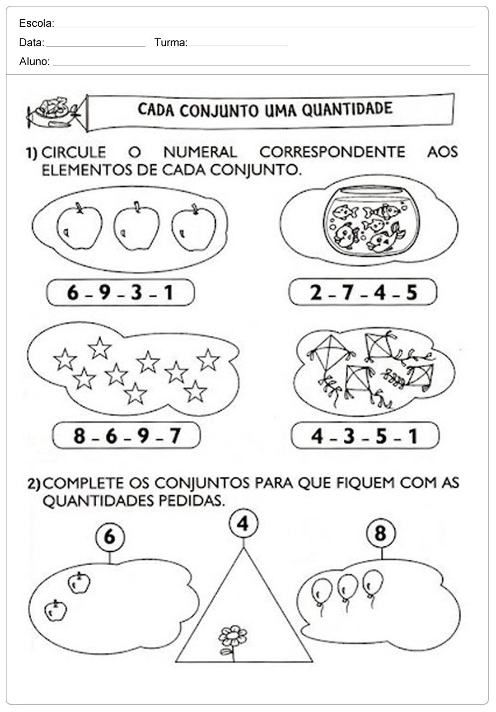 10 Atividades de Matemática 1 ano - Para Imprimir - Ensino Fundamental.