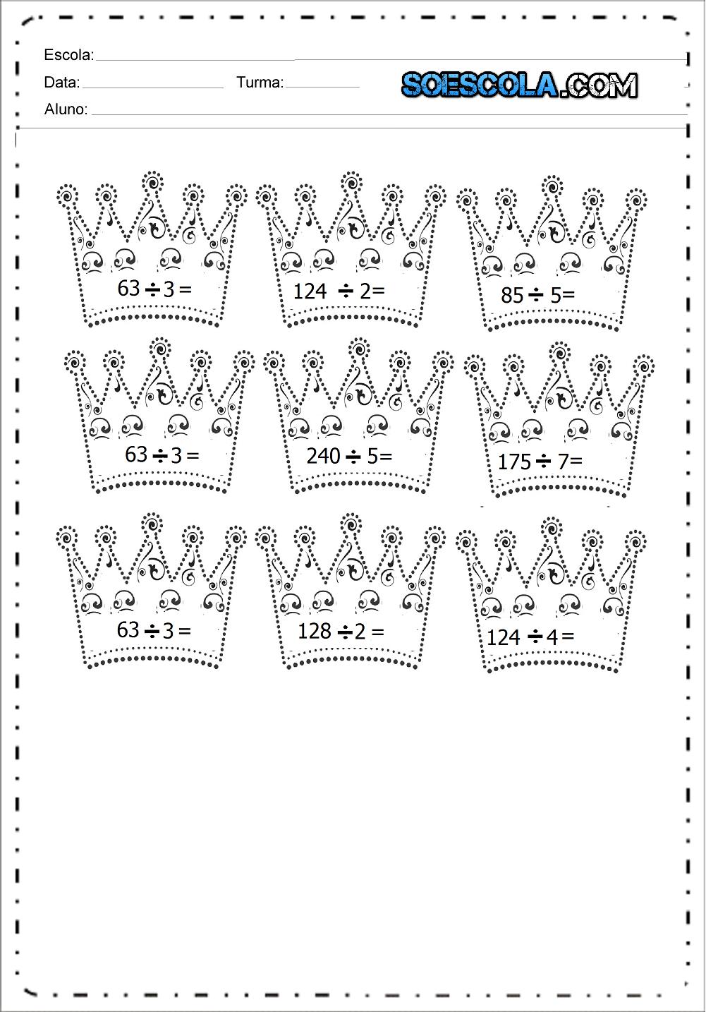 7 Atividades de Divisão para imprimir e baixar em PDF.