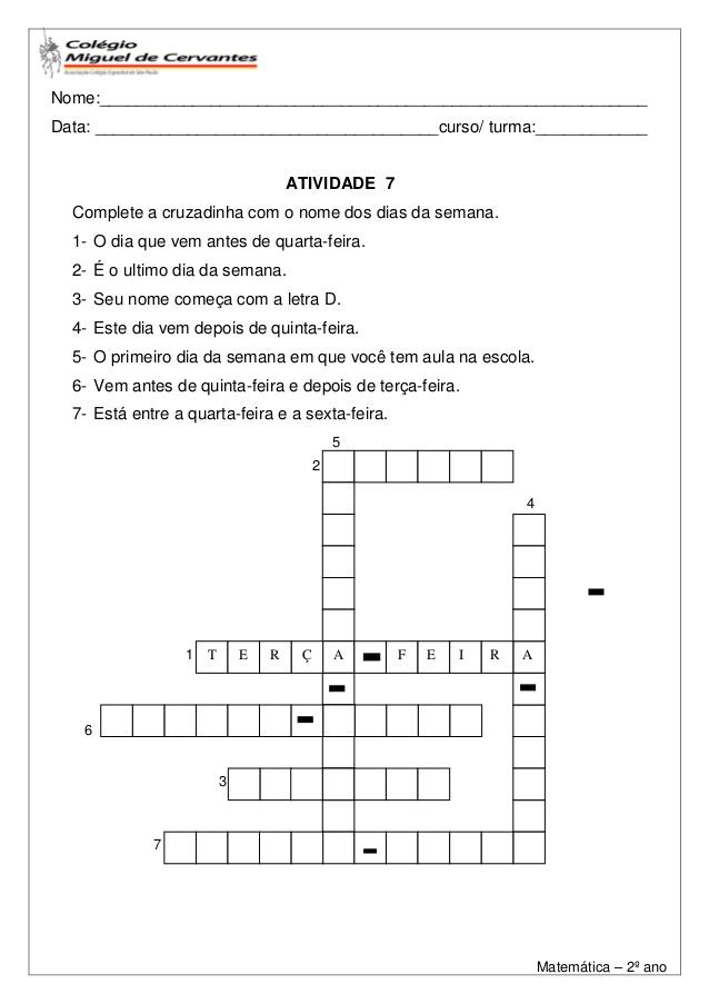 8 Atividades de Matemática 2 ano – Para Imprimir – Ensino Fundamental.