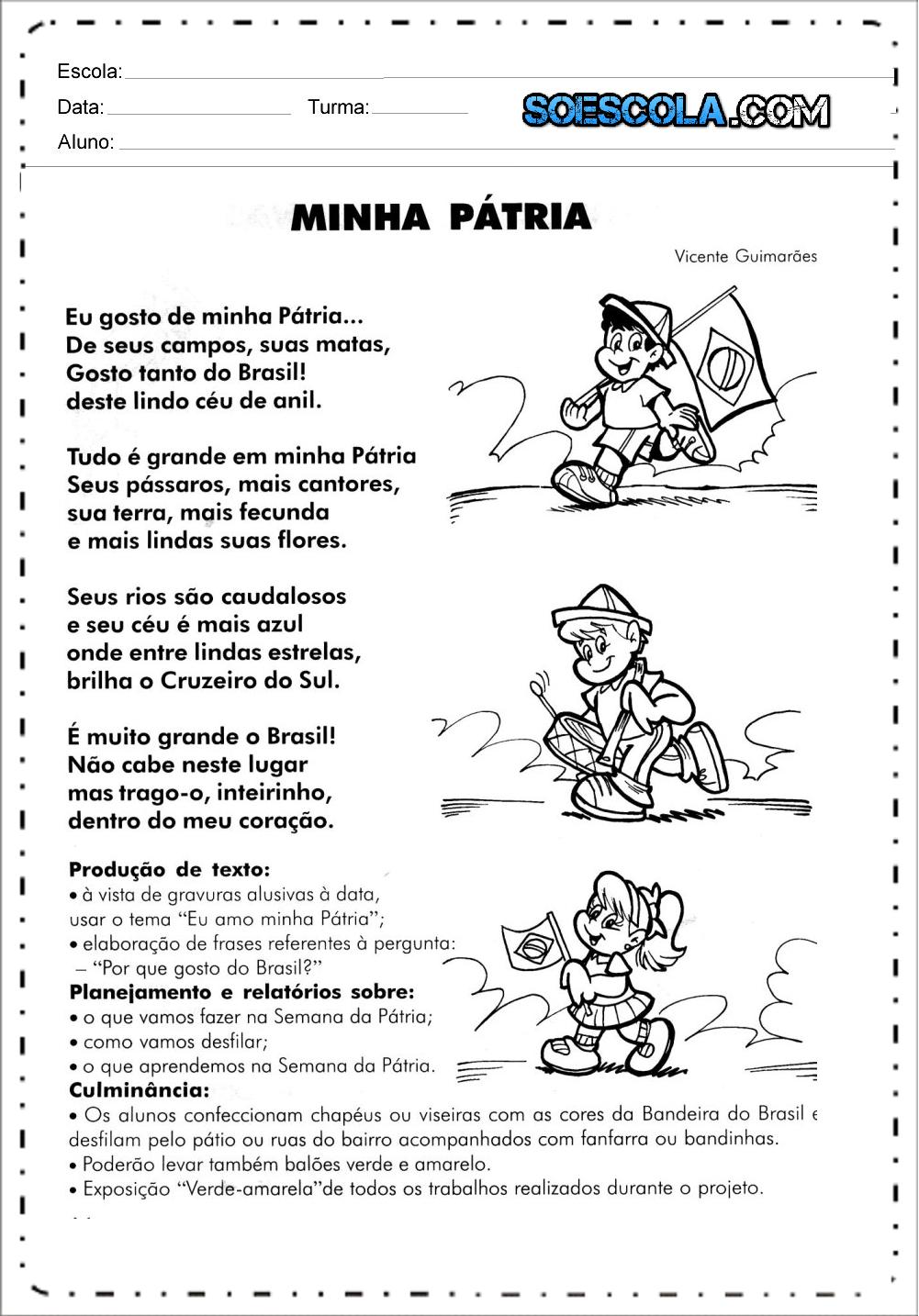 Independência do Brasil: Poemas Minha Pátria para imprimir.