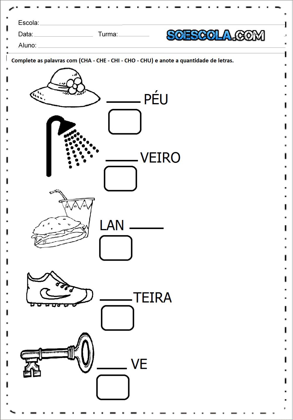 Atividades com CH para imprimir - Atividades Educativas - Series Iniciais.
