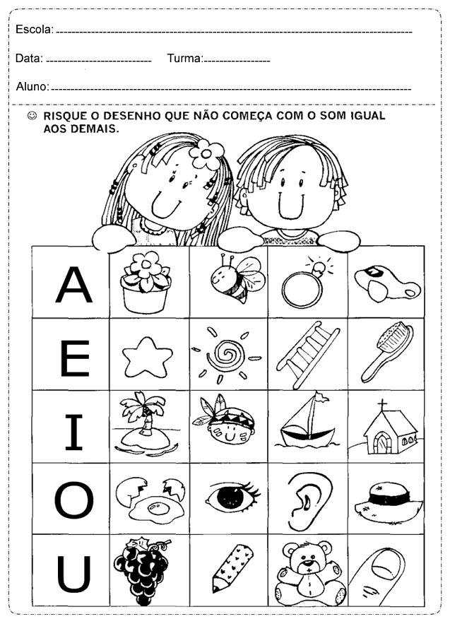 Atividades Educativas de Português para trabalhar vogais.
