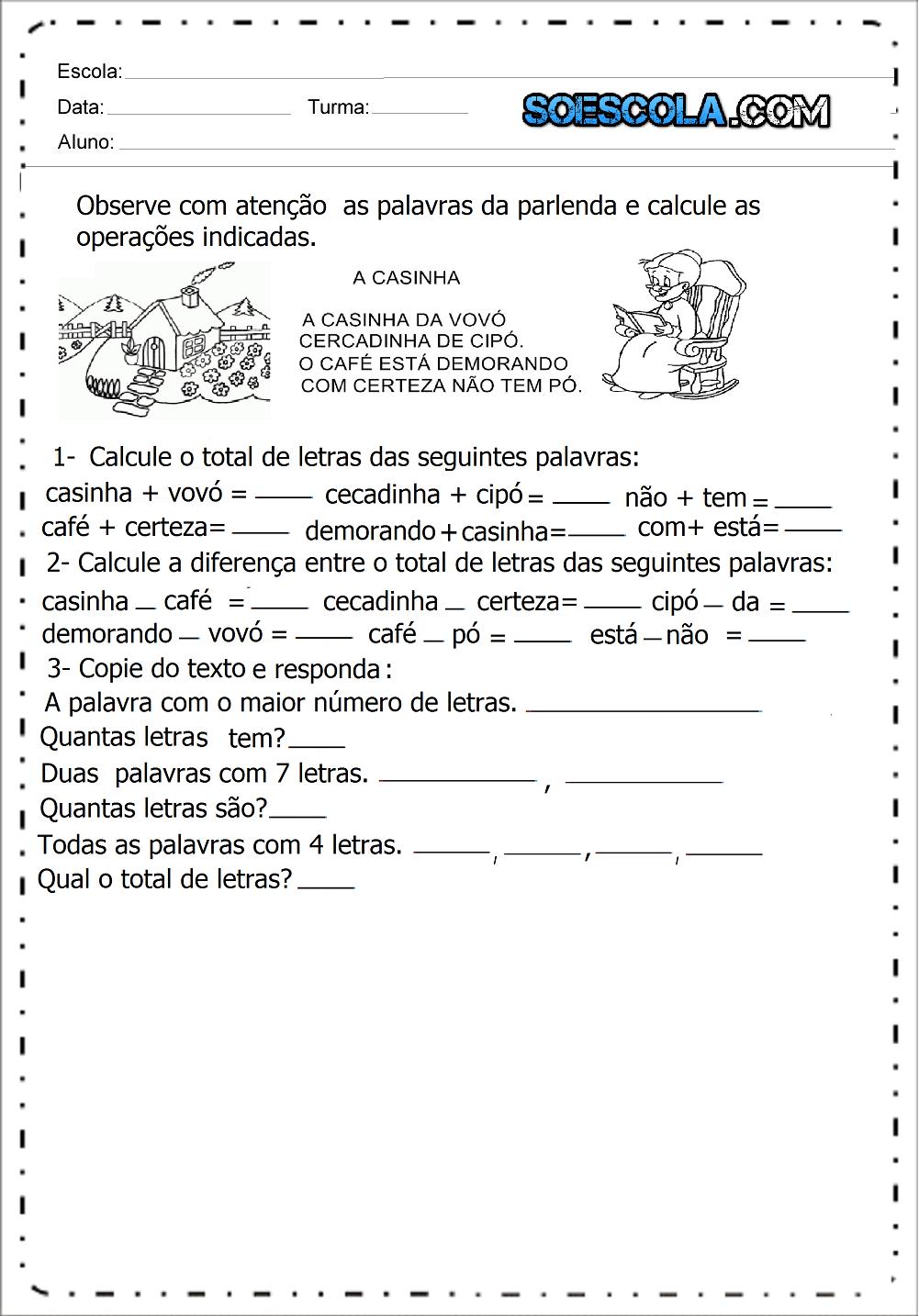 Atividades de Adição e Subtração com Parlenda - Para Imprimir.