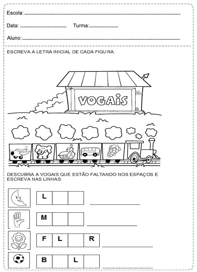 Escreva a Letra Inicial de cada Figura - Atividades de alfabetização imprimir.