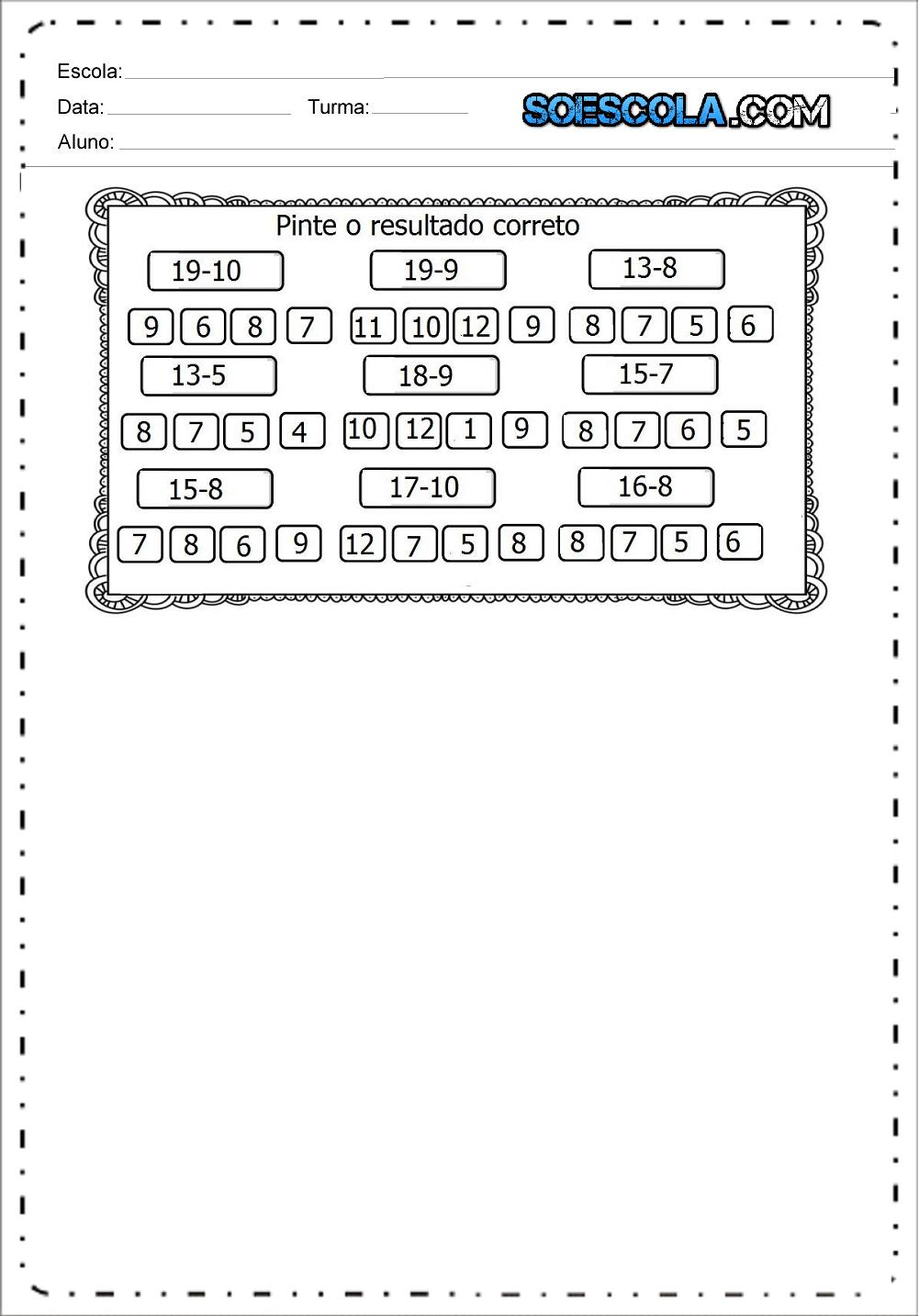 Atividades de Matemática 1 ano - Continhas de Adição e Subtração.