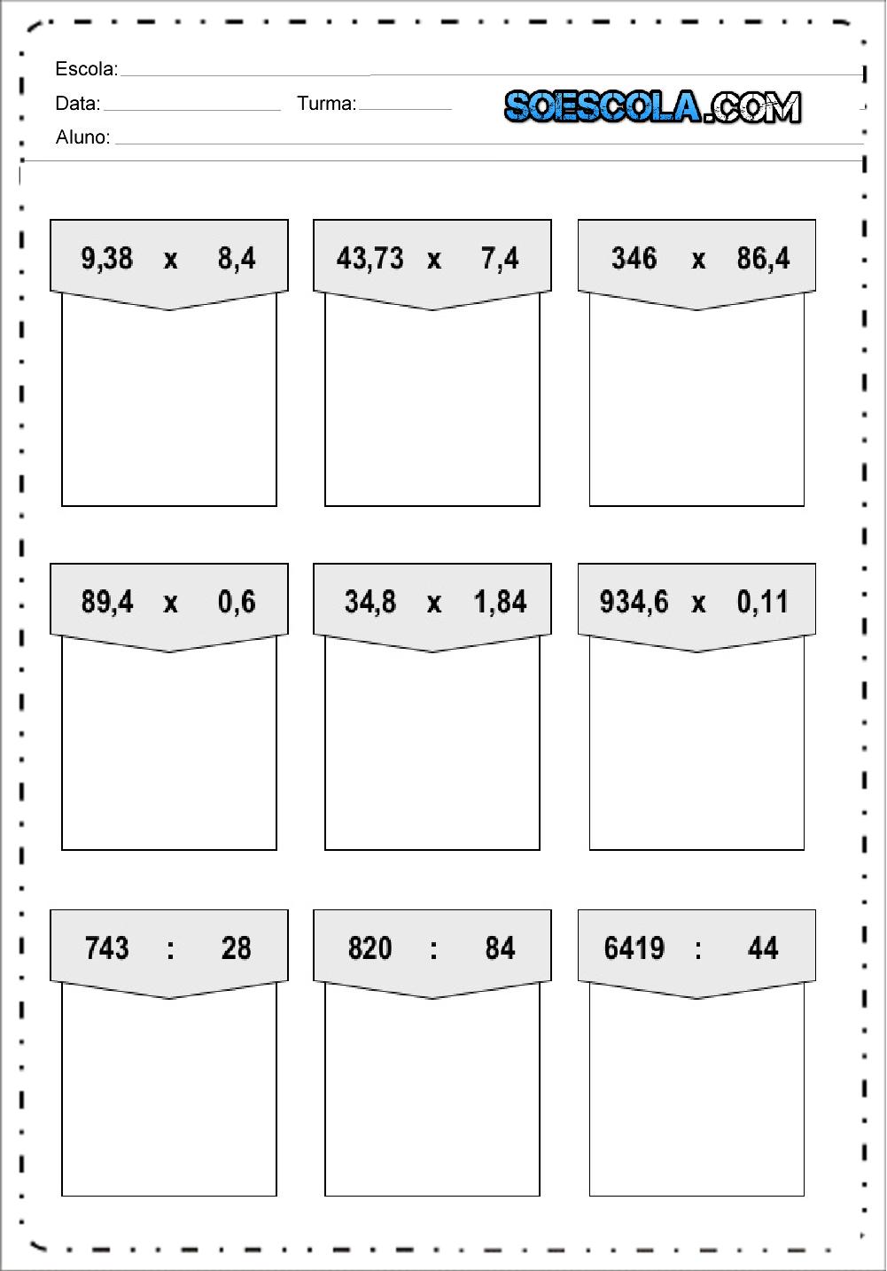 Atividades de Matemática Multiplicação para imprimir e baixar.