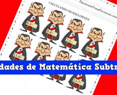 Atividades de Matemática Subtração do Halloween - Para Imprimir.