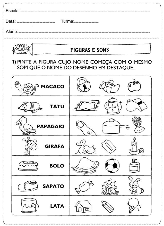 Atividades de Português sobre Sons - Atividades Educativas para Imprimir.