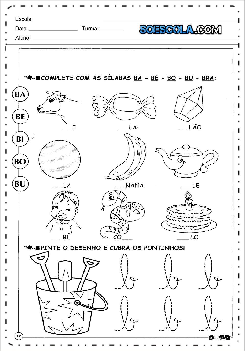 Atividades de Sílabas - Baixe em Imprima - Series Iniciais