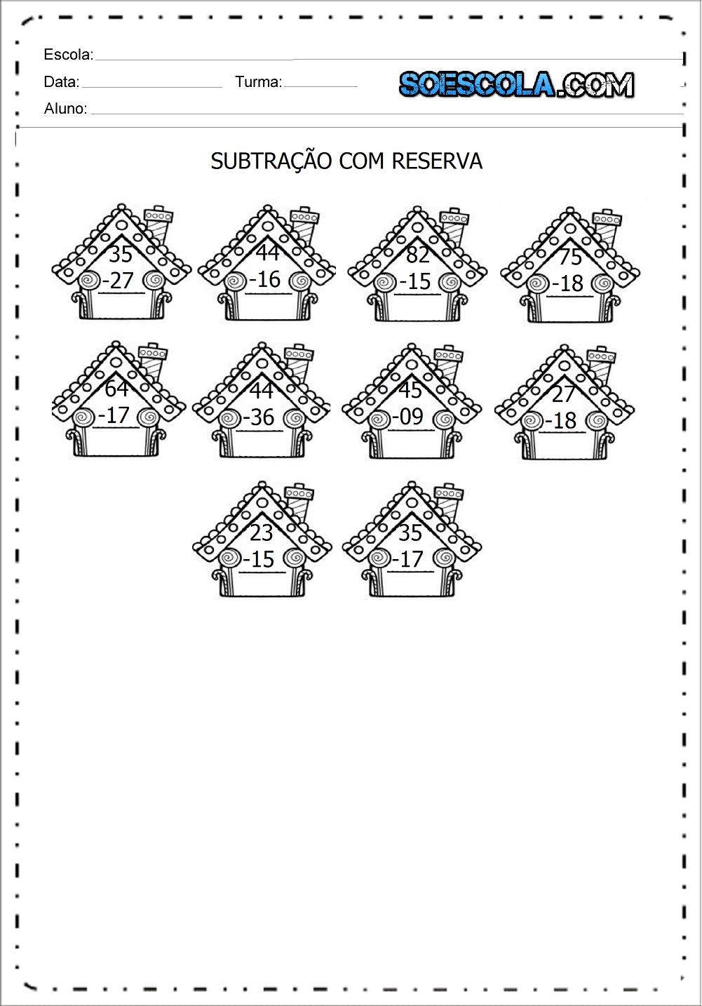 Atividades de Subtração com Reserva - Para Imprimir - Series Iniciais.