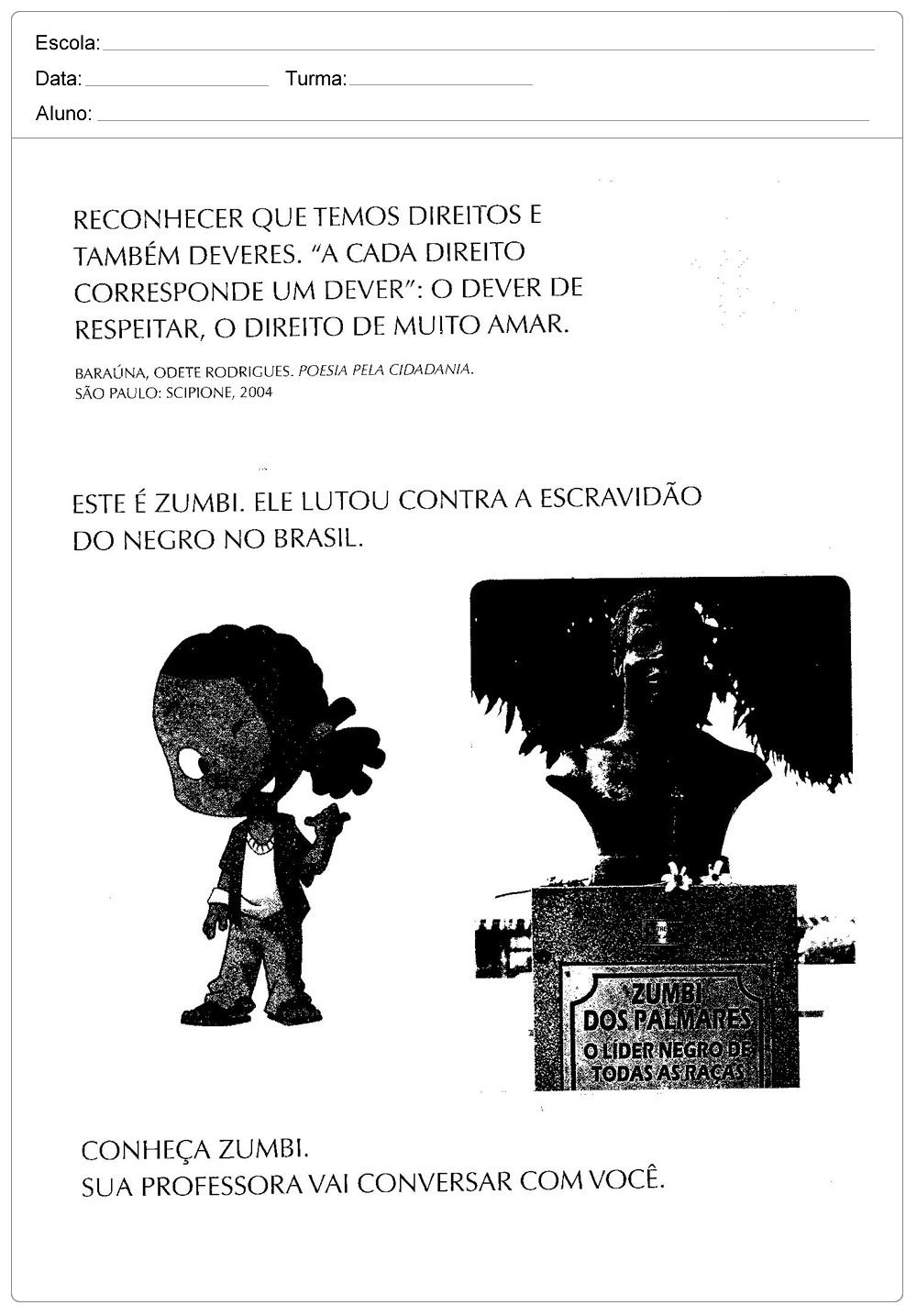 4 Atividades Dia da Consciência Negra - Para Imprimir - Baixe em PDF.