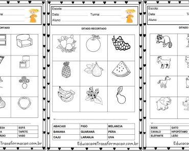 Atividades educativas ditado recortado pré silábico para imprimir em PDF.