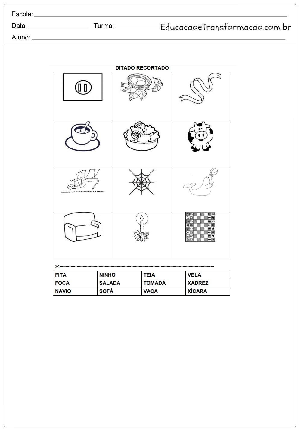 Atividades Educativas Ditado Recortado Silabico Alfabetico So