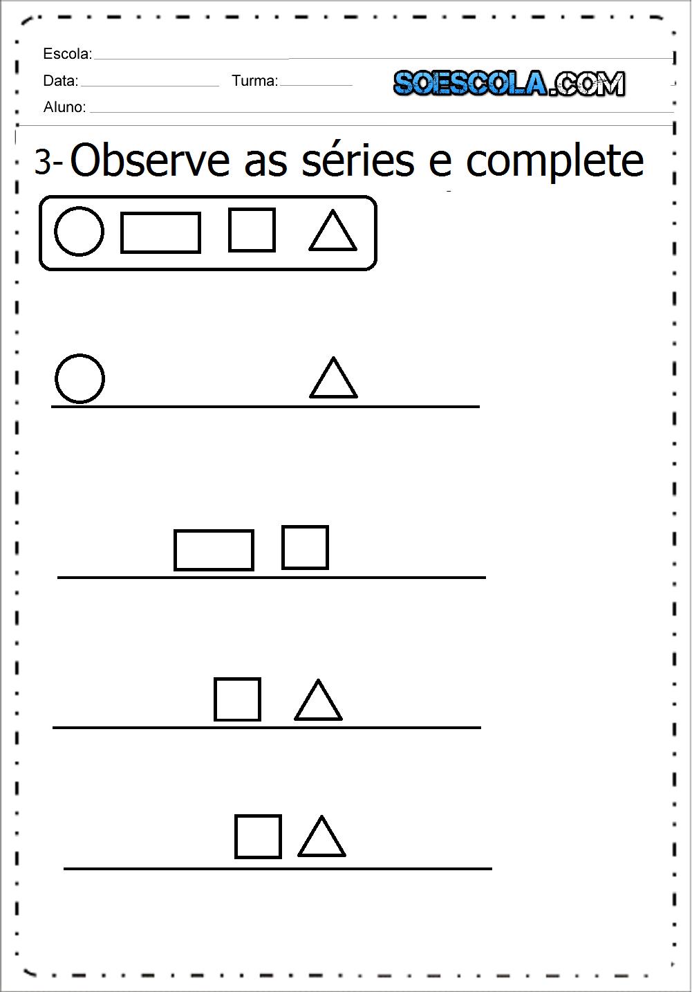 Atividades Formas Geométricas para imprimir - Baixe em PDF.