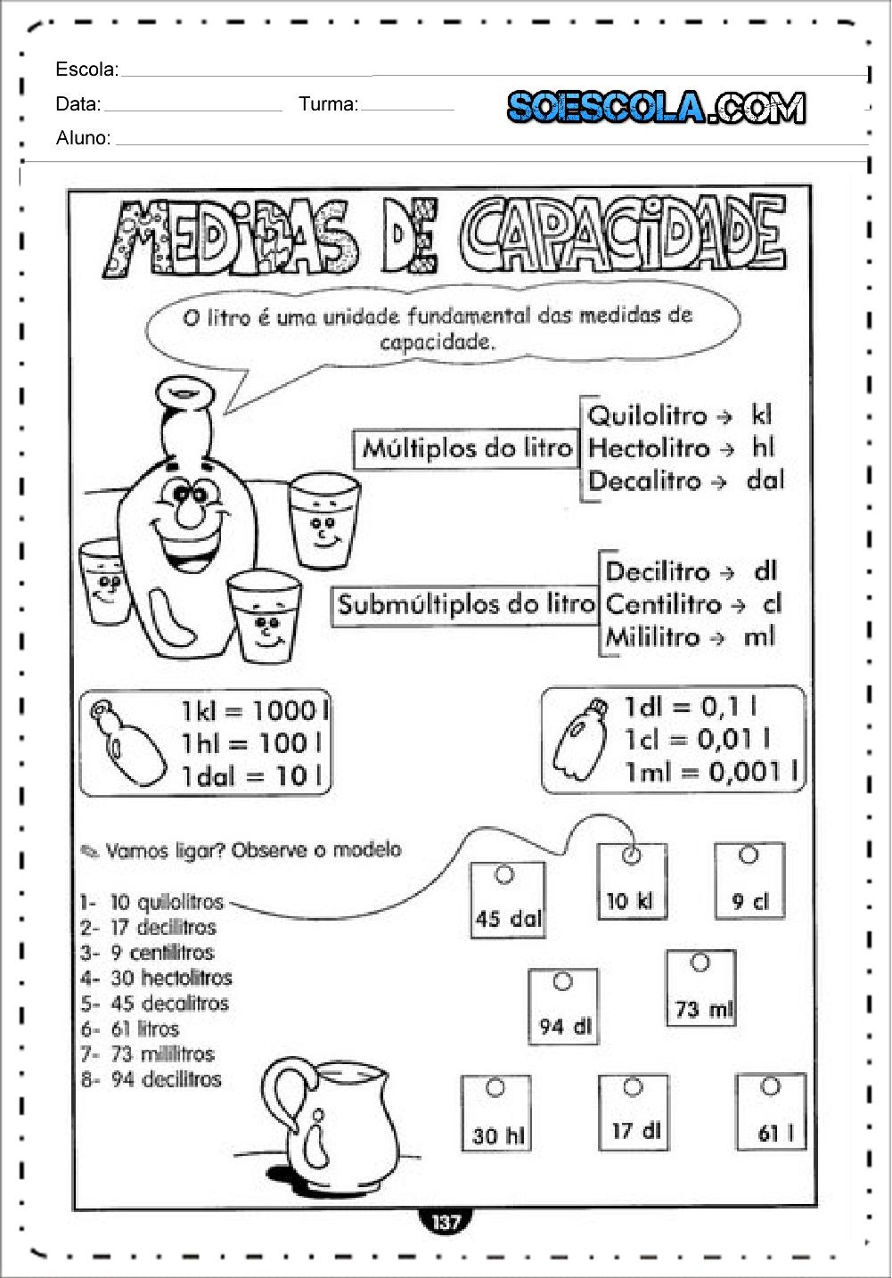 Atividades sobre Medicas de Capacidade - Para Imprimir