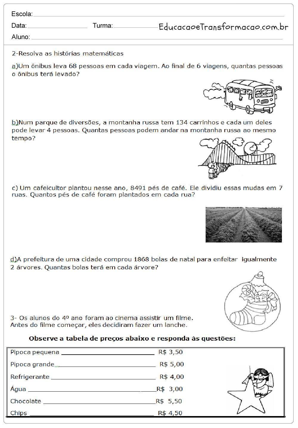Avaliação de Matemática 4 ano em WORD - Para Imprimir.