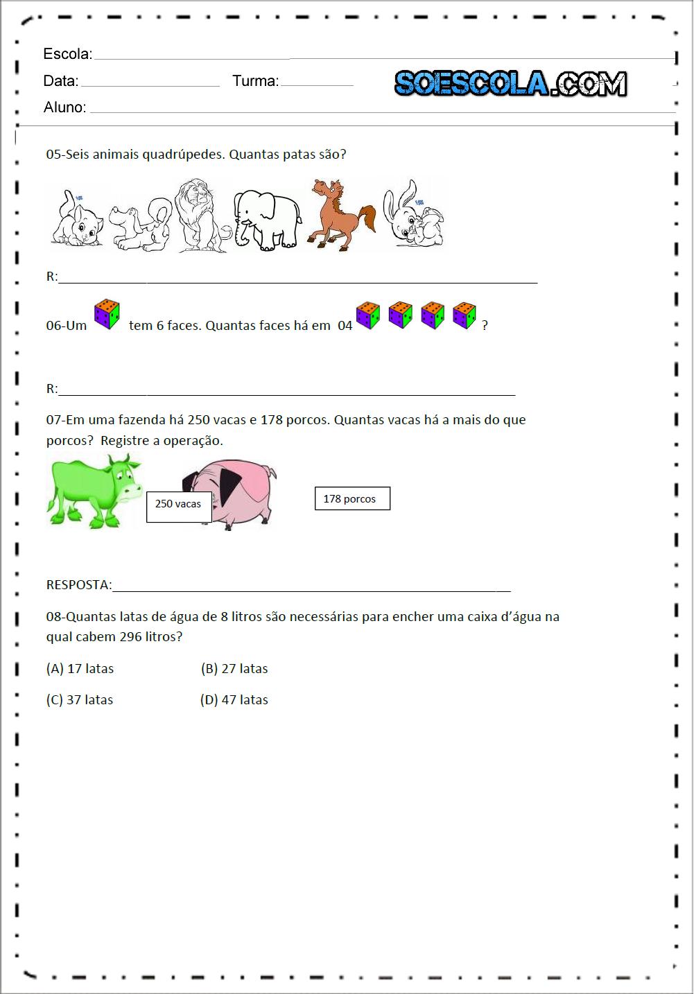 Avaliação de Matemática 1 ano - Para Imprimir - Baixe em PDF.