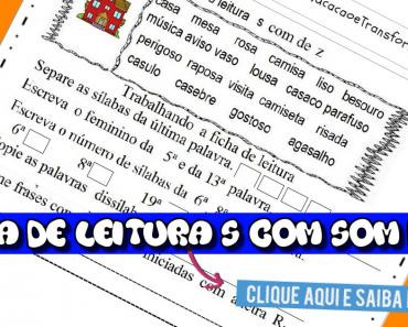 Ficha de Leitura s com som de z para imprimir - Dificuldades ortográficas.