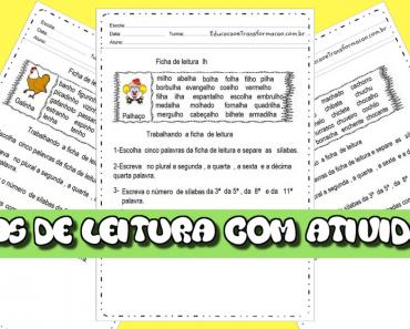 Fichas de leitura com atividades para imprimir - LH, NH, CH e S som de Z.