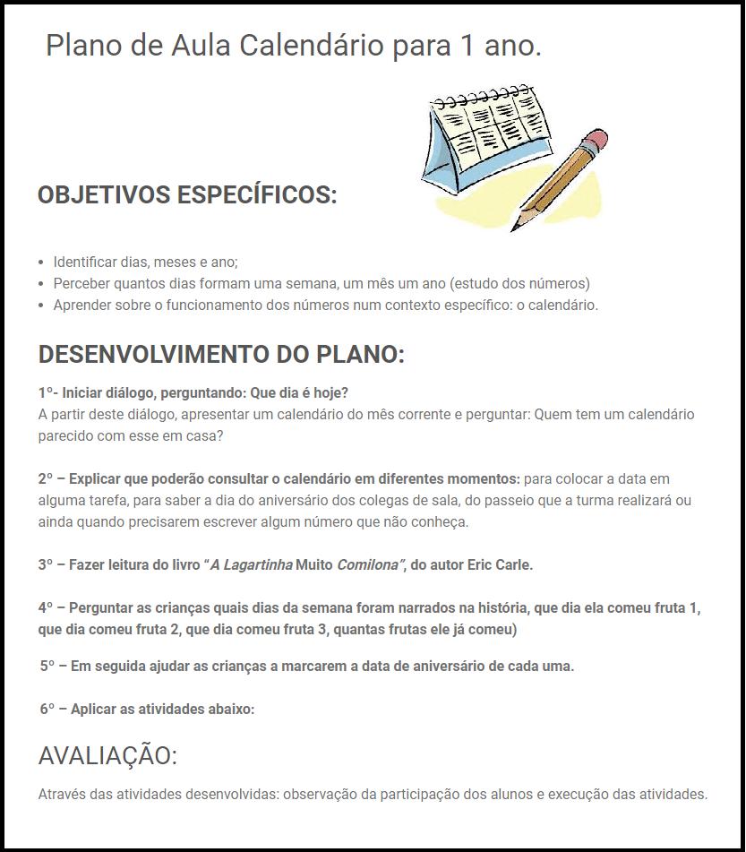 Plano de Aula Calendário para 1 ano - Para Imprimir.