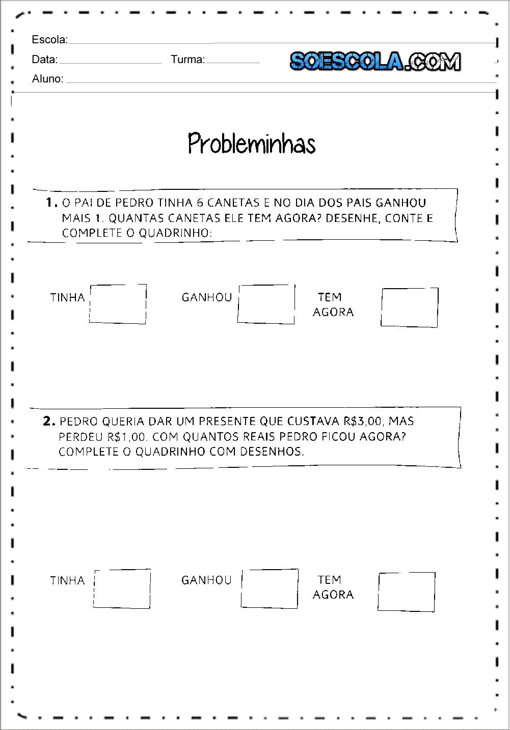 Problemas de Subtração - Para Imprimir - Ensino Fundamental.