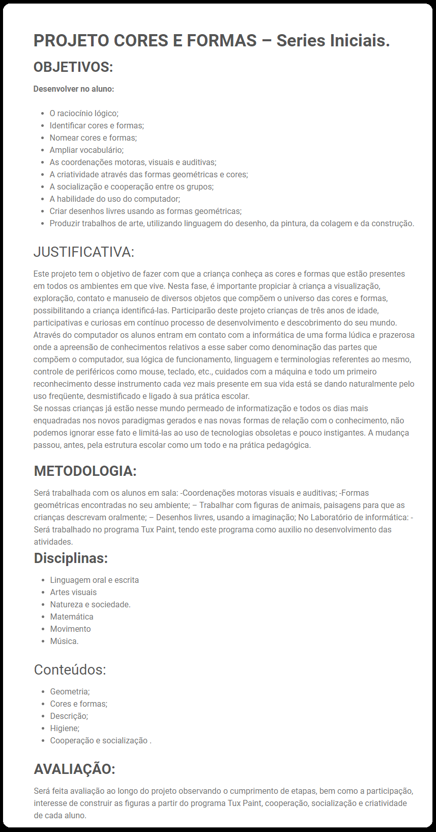 Projeto Cores e Formas - Para Series Iniciais