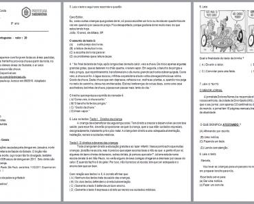 Simulado de Língua Portuguesa 5 ano - Para Imprimir.