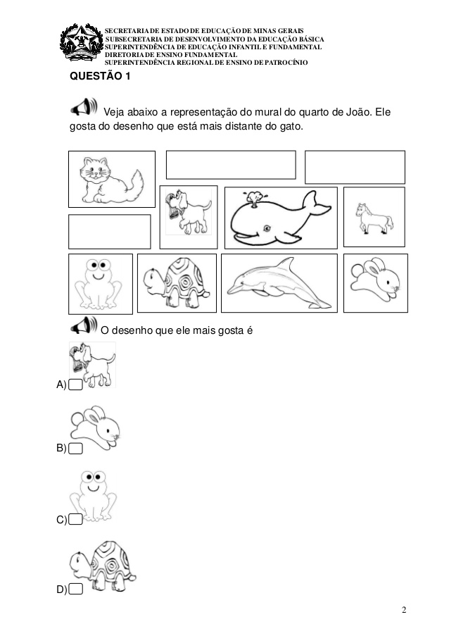 Simulado de Matemática 1 ano do Ensino Fundamental em PDF.