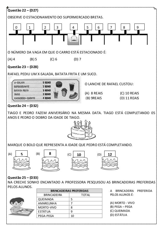 Simulado de Matemática 2 ano do Ensino Fundamental para imprimir.