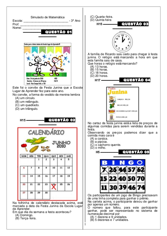 Simulado de Matemática 3 ano do Ensino Fundamental para imprimir.