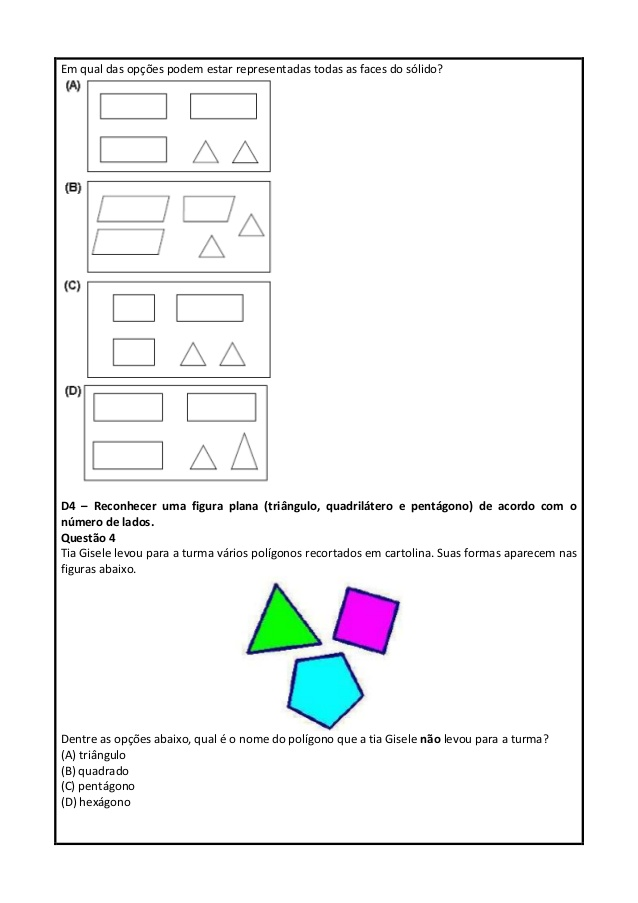 Simulado de Matemática 5 ano do Ensino Fundamental para imprimir.