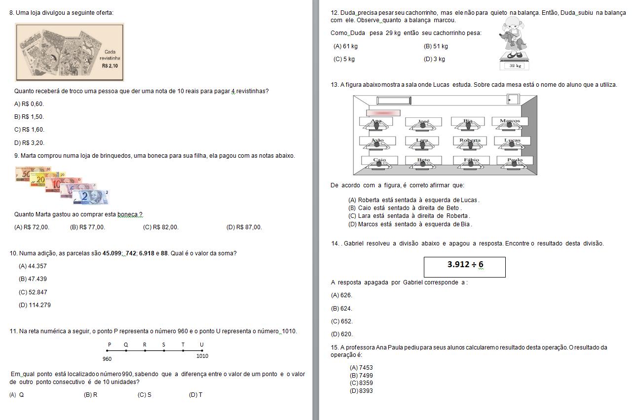 Simulado De Matemática 5 Ano Para Imprimir E Baixar Em Word