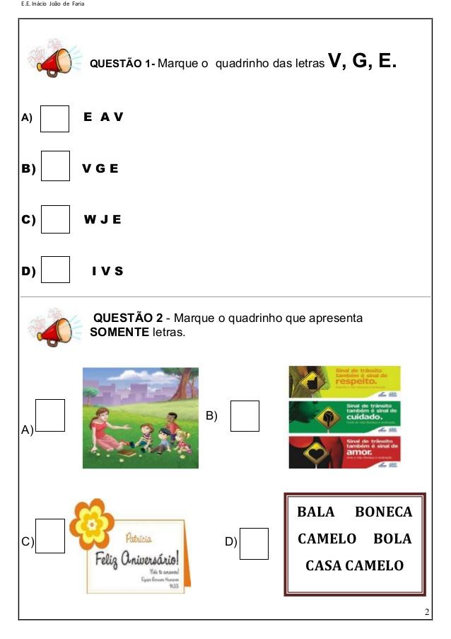 Simulado de Português 2 ano Ensino Fundamental - Alfabetização.