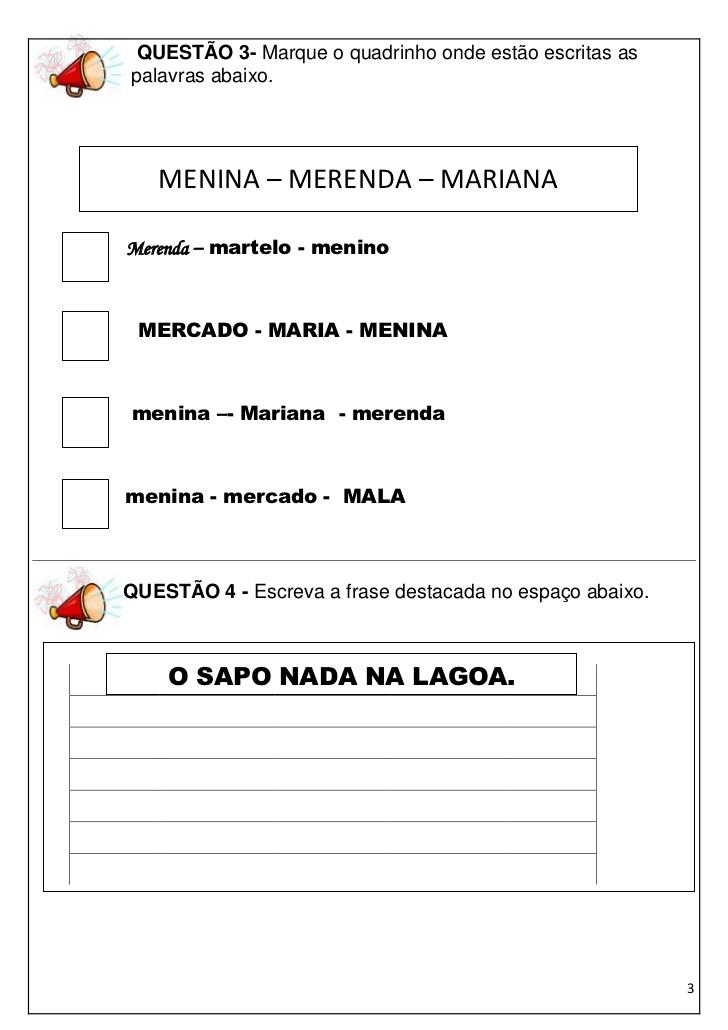Simulado de Português 3 ano Ensino Fundamental - Alfabetização.