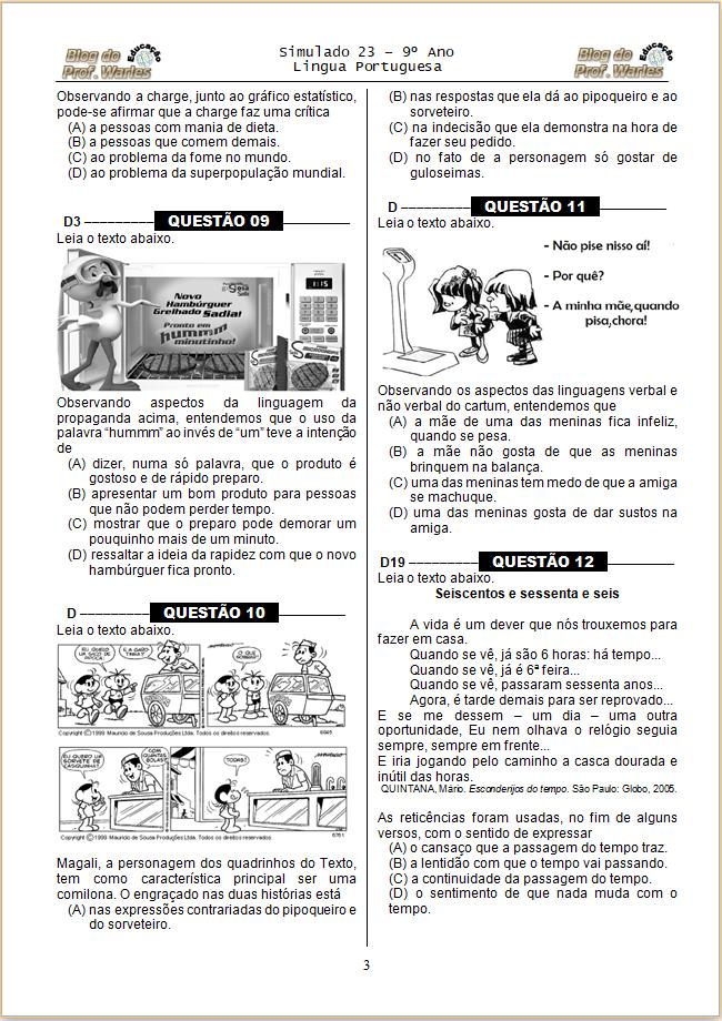Simulado de Português 9 ano Prova Brasil com Gabarito para Imprimir.