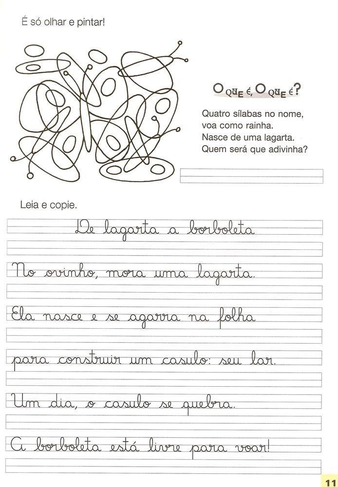 Textos e Atividades de Caligrafia para imprimir