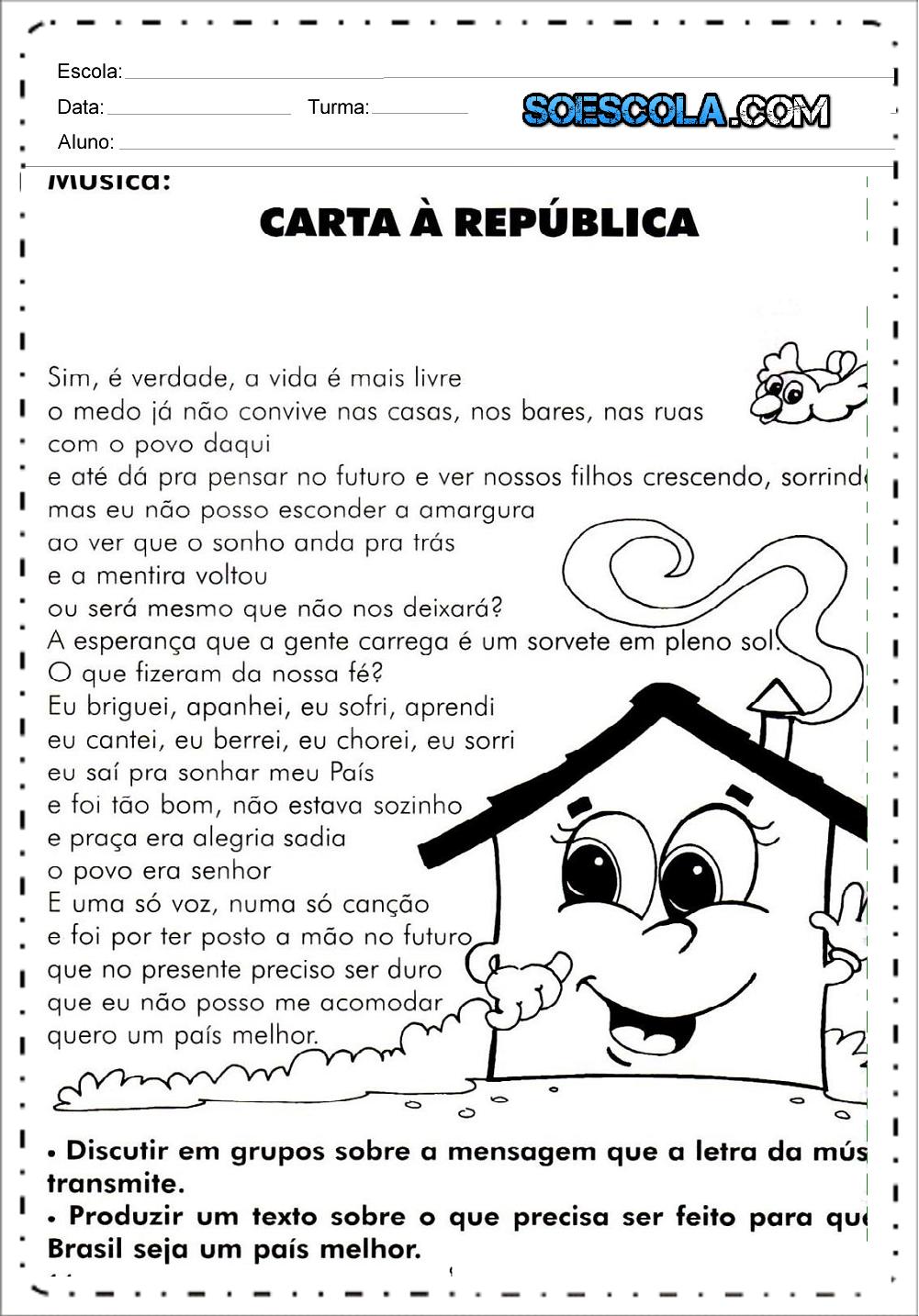 Proclamação da Republica - Texto e Atividades - 15 de Novembro.