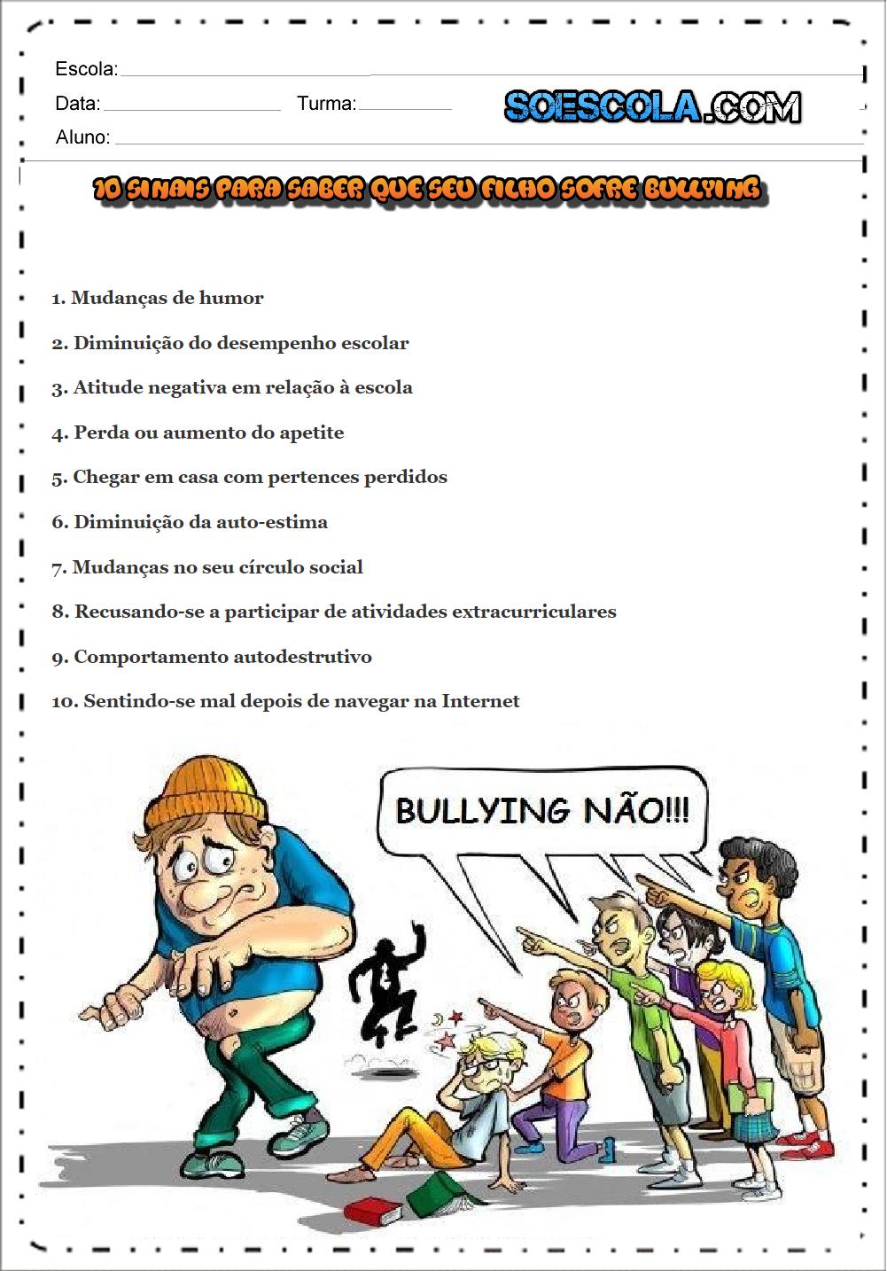 10 sinais para saber que seu filho sofre bullying