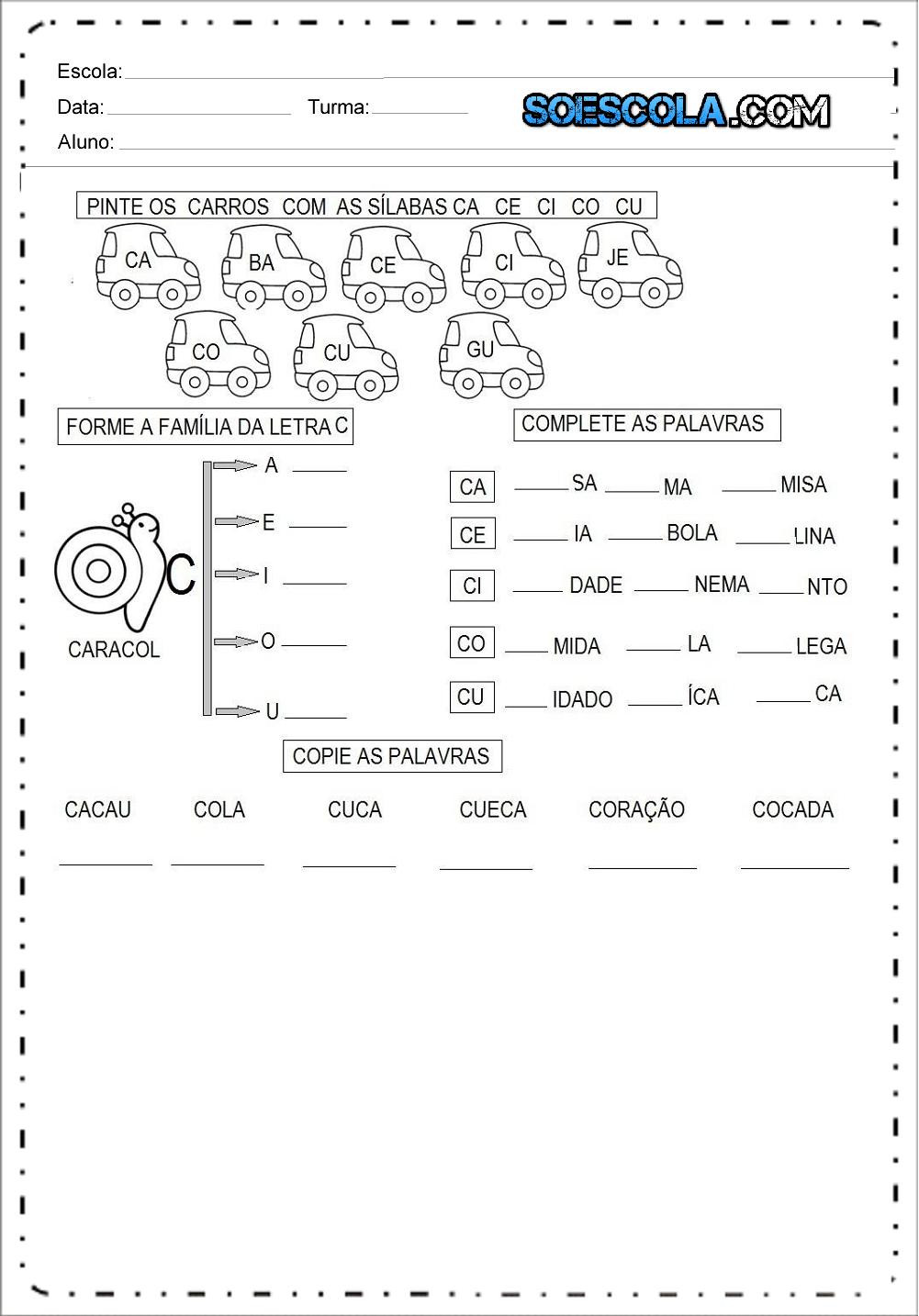 18 Atividades de Alfabetização para Imprimir - Famílias Silábicas.